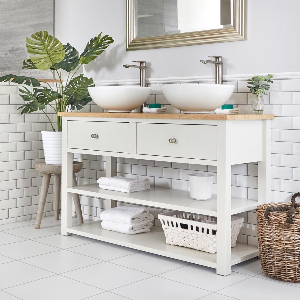 meuble sous lavabo avec double vasques rondes 124 cm blanc creme stratford