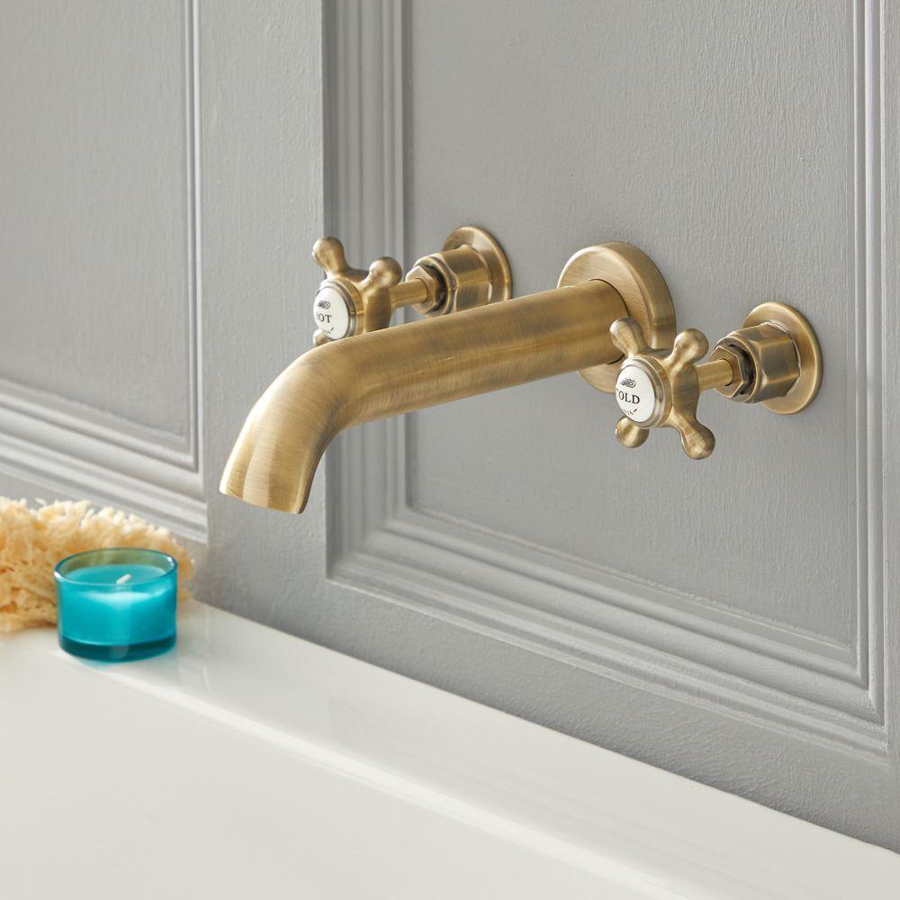 robinet baignoire mural retro a 3 trous commandes croisillons or brosse elizabeth