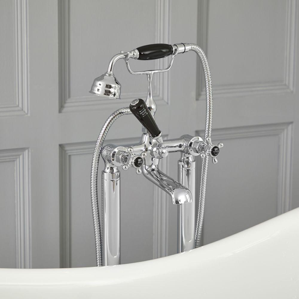 robinet bain douche baignoire ilot retro commandes croisillons chrome et noir elizabeth
