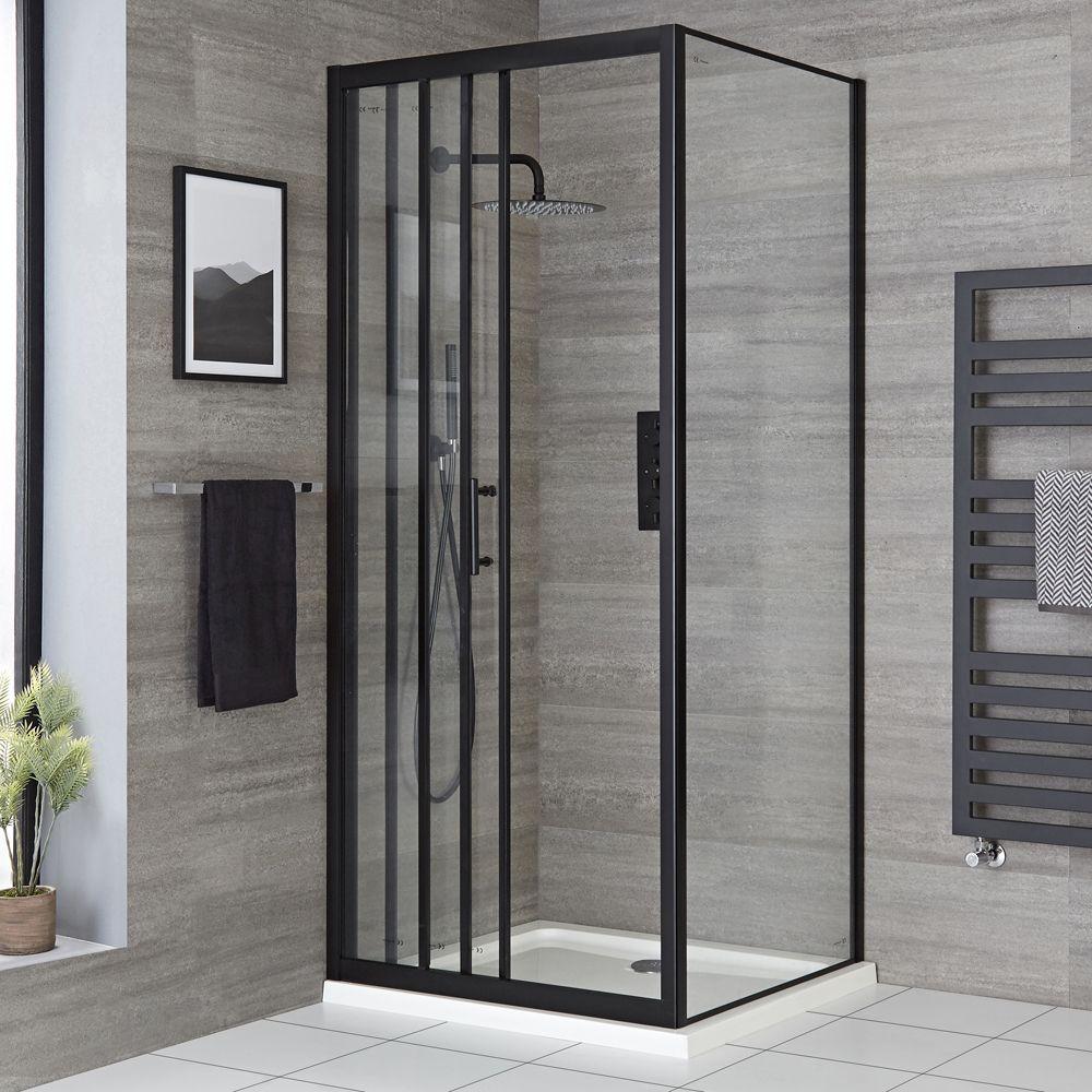cabine de douche d angle a porte coulissante et receveur noir tailles multiples nox