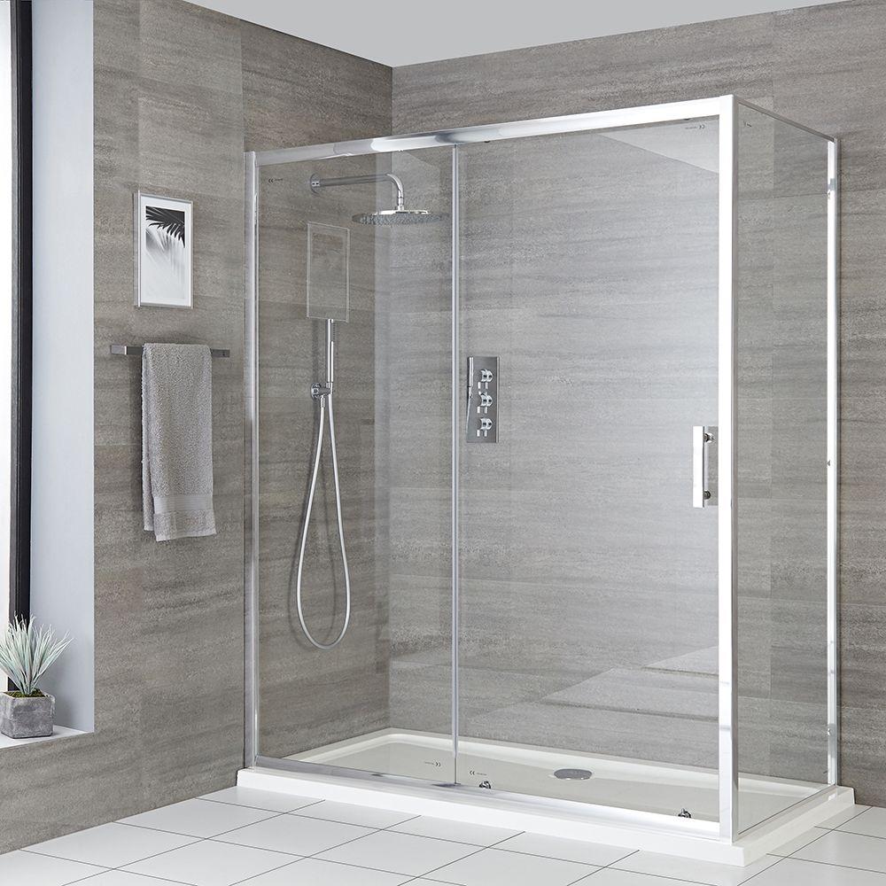 cabine de douche d angle a porte coulissante avec receveur de douche tailles multiples portland