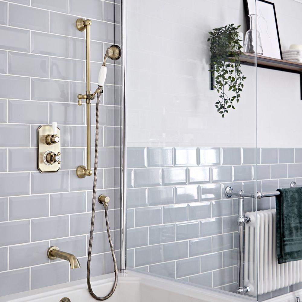 kit de douche thermostatique 2 fonctions avec inverseur bec verseur baignoire douchette sur rampe or brosse elizabeth