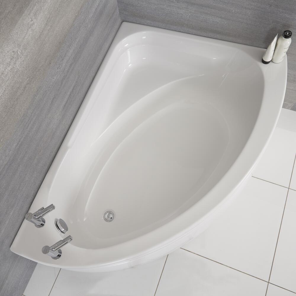 baignoire d angle droit avec tablier blanc 150 cm x 102 cm belstone