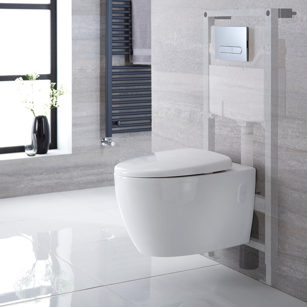 pack wc suspendu moderne sans bride bati support haut blanc choix de plaque de declenchement kenton