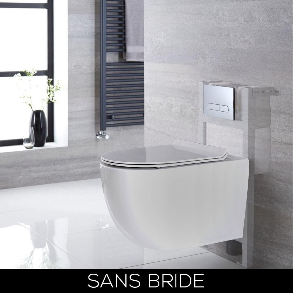 wc suspendu sans bride avec bati support blanc choix de plaque de declenchement otterton
