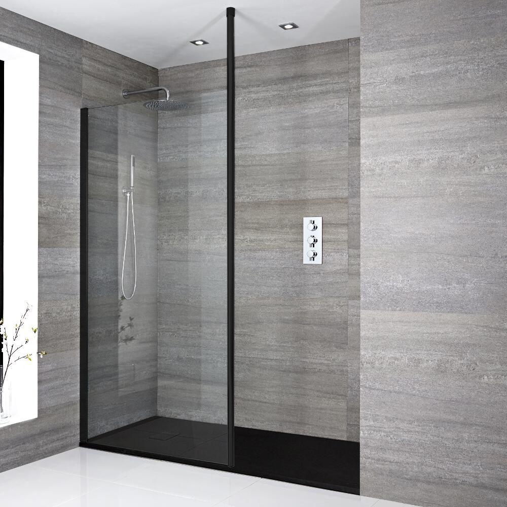 douche italienne moderne avec receveur a effet texture choix de tailles nox