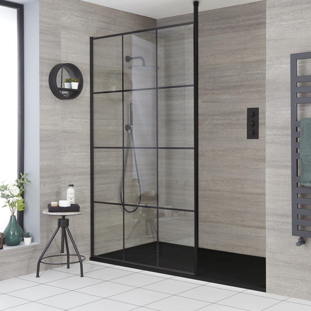 douche italienne moderne avec verriere et receveur a effet texture choix de tailles barq
