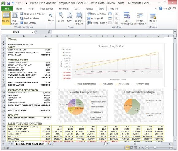 Break Even Analysis Template for Excel 2013 With Data ...