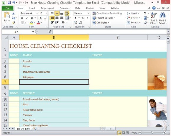 Since you certainly don't want to carry your computer or notebook with you when cleaning, it makes sense to print out the checklist. Free House Cleaning Checklist Template For Excel