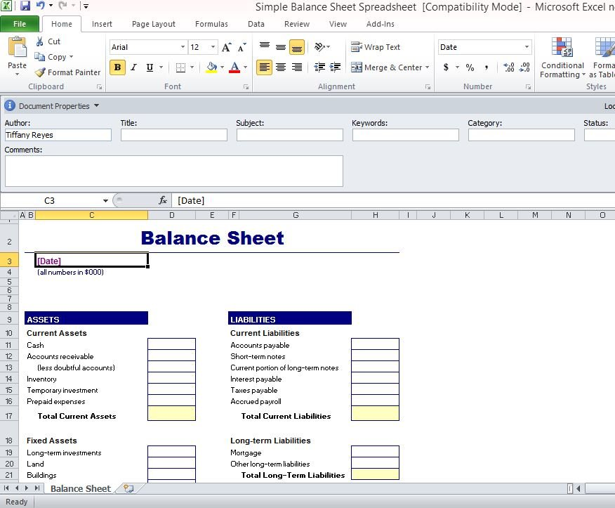 This financial statement shows assets, liabilities and equity and sometimes breaks those down into categorie. Simple Balance Sheet Template For Excel