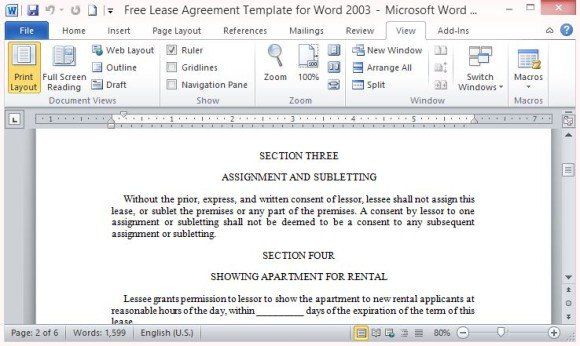 (2) landlord's name and mailing address; Free Lease Agreement Template For Word