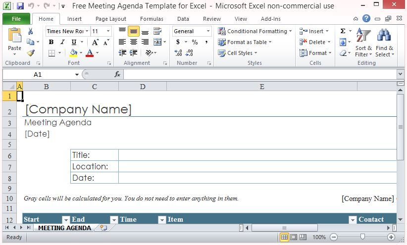 Minutes of meetings are essential legal documents for nonprofits, government agencies, societies and corporations. Free Meeting Agenda Template For Excel
