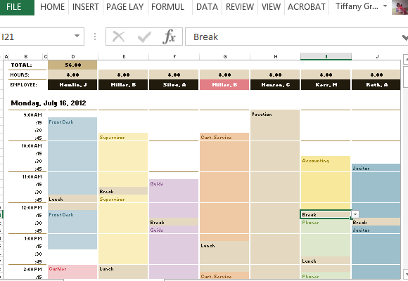 Manage homework assignments or group projects with an excel schedule template. Employee Schedule Hourly Increment Template For Excel