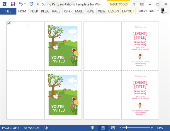 spring party invitation template for word