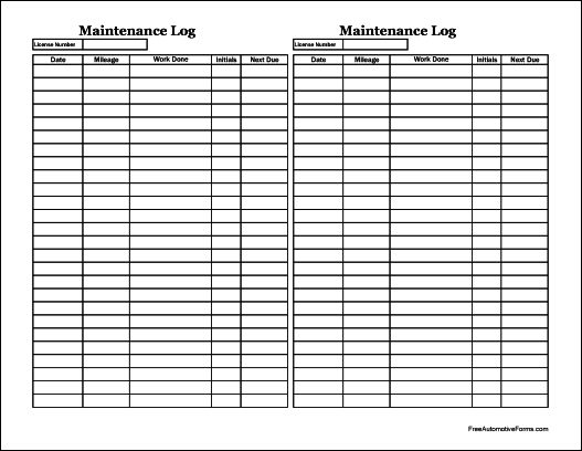 The logbook serves as a reporting system to record the amount of mileage an employee completed for the taxable period. Free Easy Copy Small Simple Automotive Maintenance Log Tall