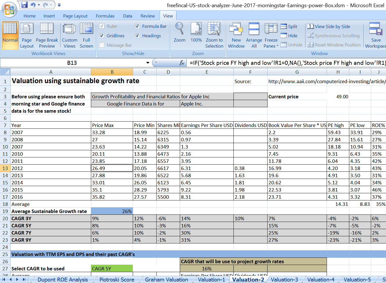 Stockysis Spreadsheet For U S Stocks Free Download