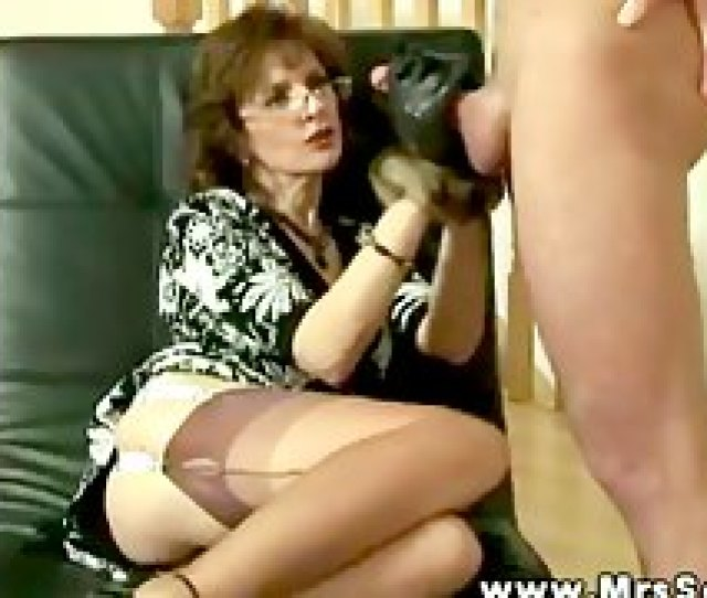 Mrs Sonia Gives Her Subject A Hand With His Erecti