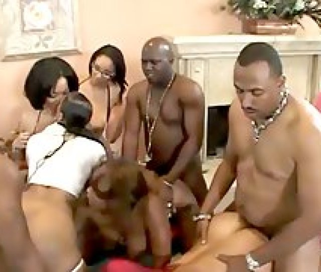 Ebony Fucked Hard In A Massive Orgy Of Men With Hu