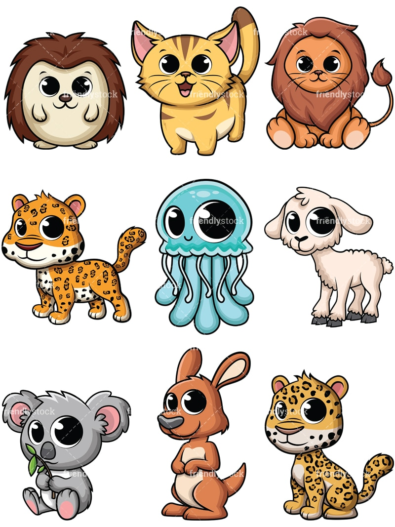 Adorable Baby Animals Cartoon Vector Clipart FriendlyStock