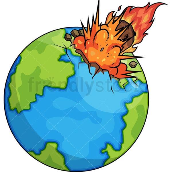 Asteroid Hitting The Earth Cartoon Clipart Vector