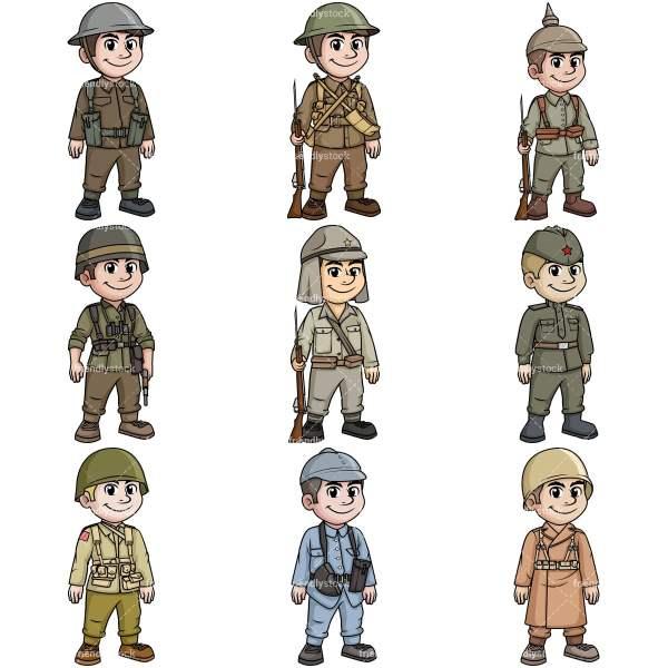 World War Soldiers Cartoon Vector Clipart - FriendlyStock