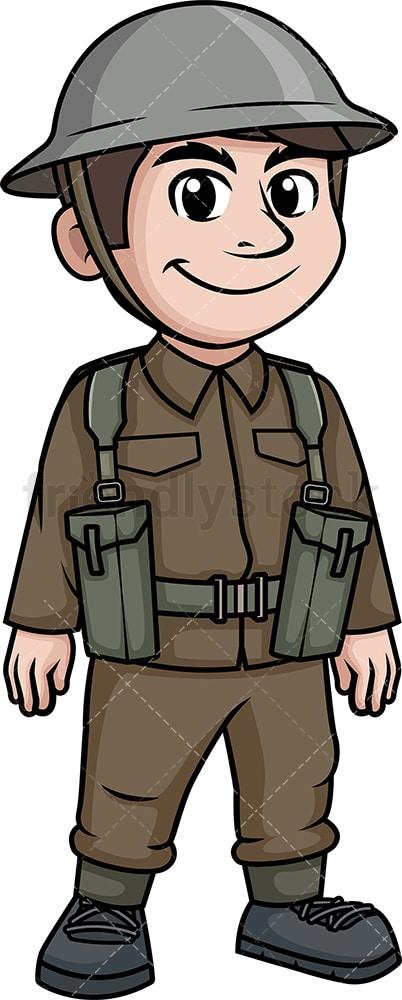 WW1 British Soldier Cartoon Clipart Vector - FriendlyStock