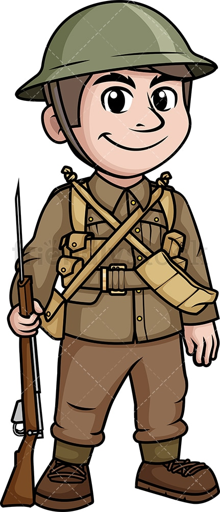 WW2 British Soldier Cartoon Clipart Vector - FriendlyStock