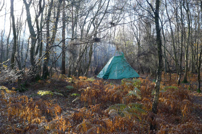 A tarp tipi shelter in the woods on a Frontier Bushcraft winter bushcraft course