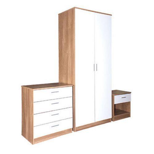 Oak White Gloss Bedroom Furniture 3 Piece Trio Set Wardrobe Chest Bedside