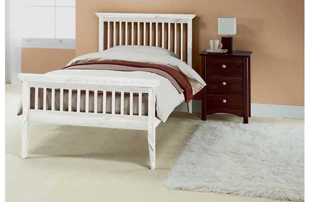 Single Bed Wood Frame New 3ft Shaker White