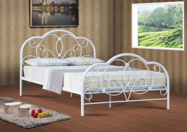 Alexis 4ft, 4ft6 & 5ft White Metal Bed Frame Bedstead