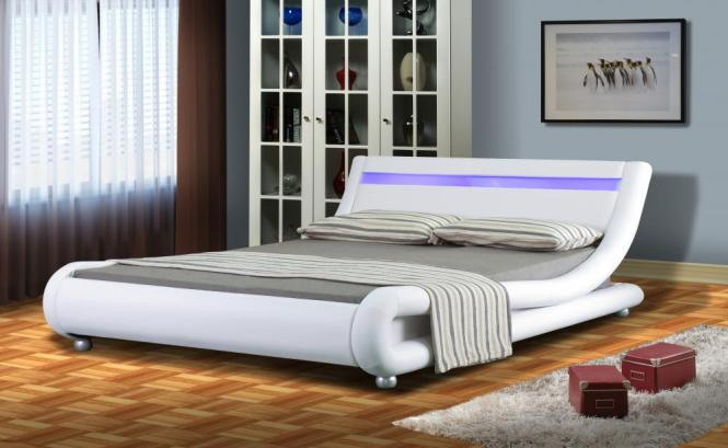 Italian Designer Faux Leather Bed With Led Strip 4ft6 5ft Mattress Option