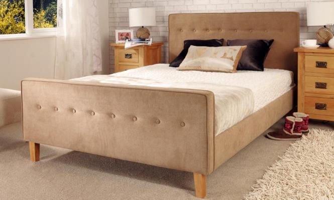 Fabric Upholstered Bed Frame 3ft Single 4ft6 Double 5ft Kingsize Mattress Option
