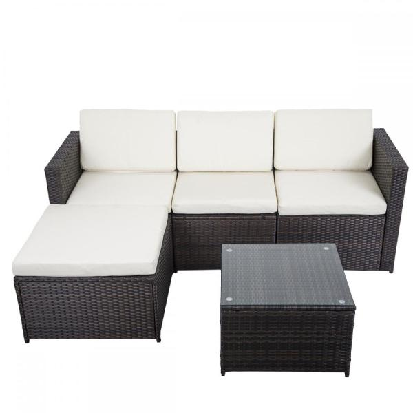 outdoor wicker patio furniture sectional sofa set 5 PCS Outdoor Patio Sofa Set Sectional Furniture PE Wicker