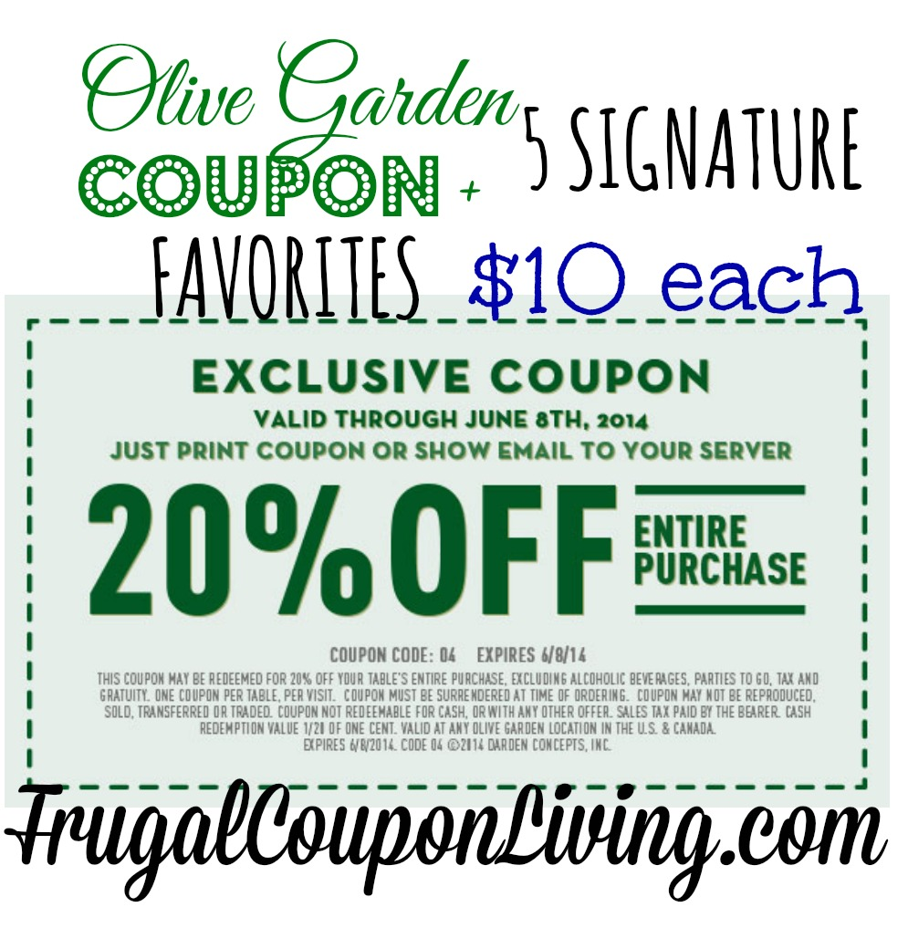 Find the best Olive Garden coupons, promo codes and deals for December All coupons guaranteed to work. Exclusive offers & bonuses up to % back! all the way to Italy might not be possible, but going to Olive Garden is. The popular establishment specializes in Italian-American cuisine that brings family and friends around the table.