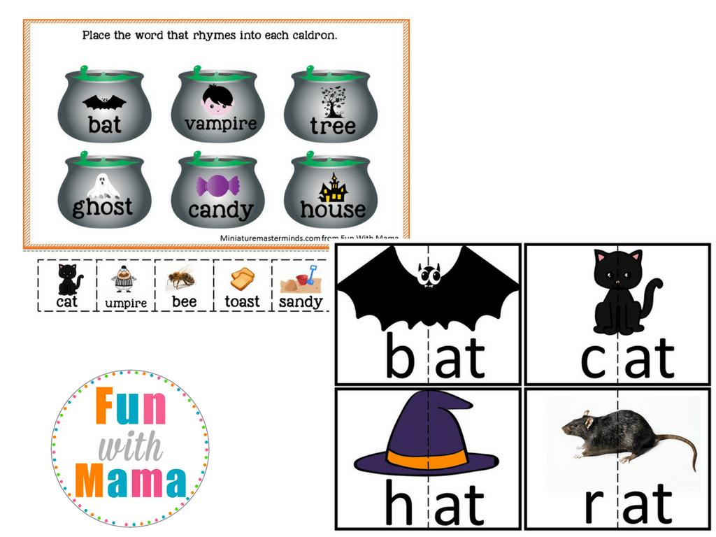 Kindergarten Worksheet Halloween Rhyming Words