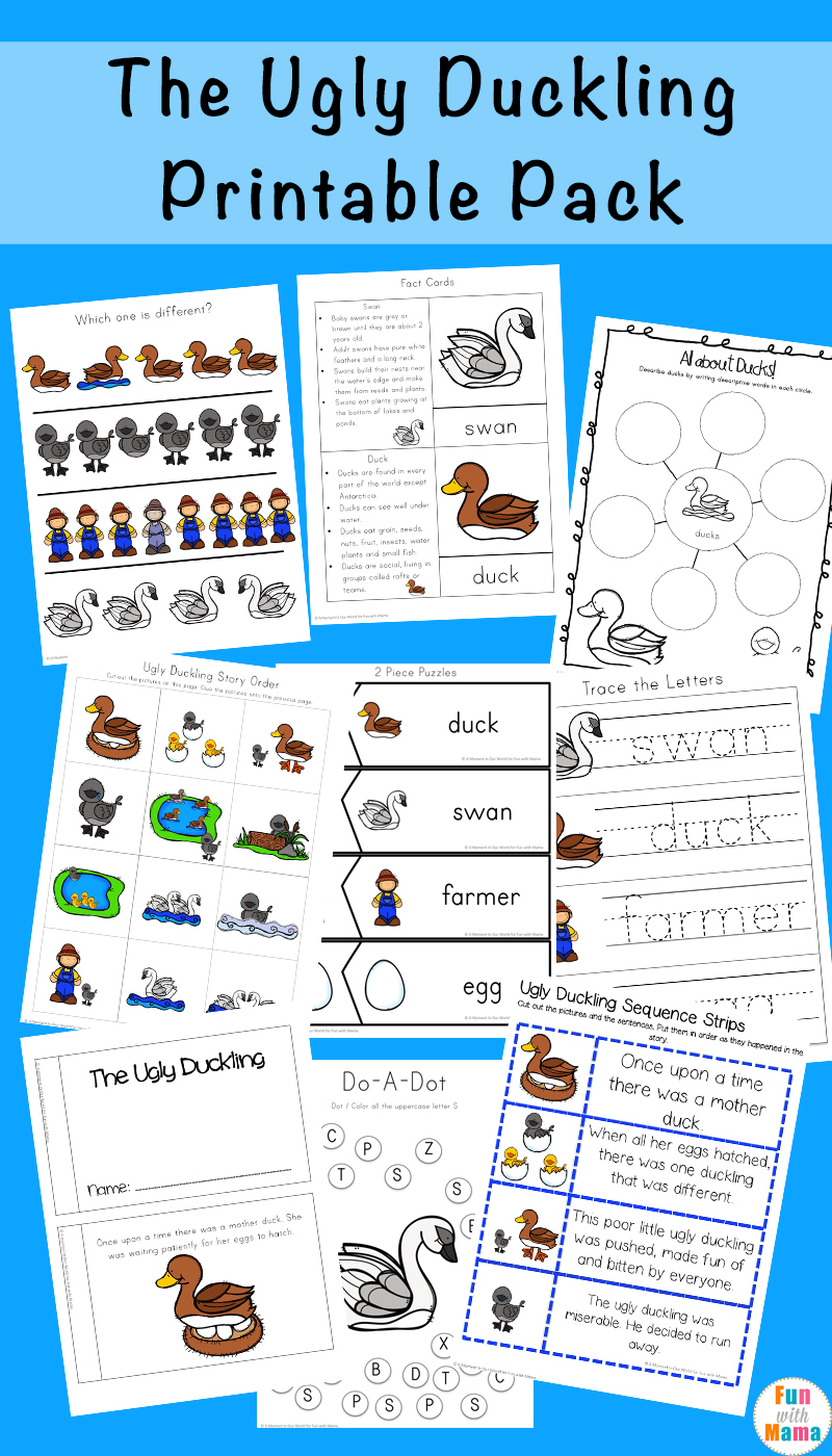 free coloring pages download : The Ugly Duckling Printables Pack Fun With Mama of The Ugly Duckling Printable Worksheets on xsibe.us