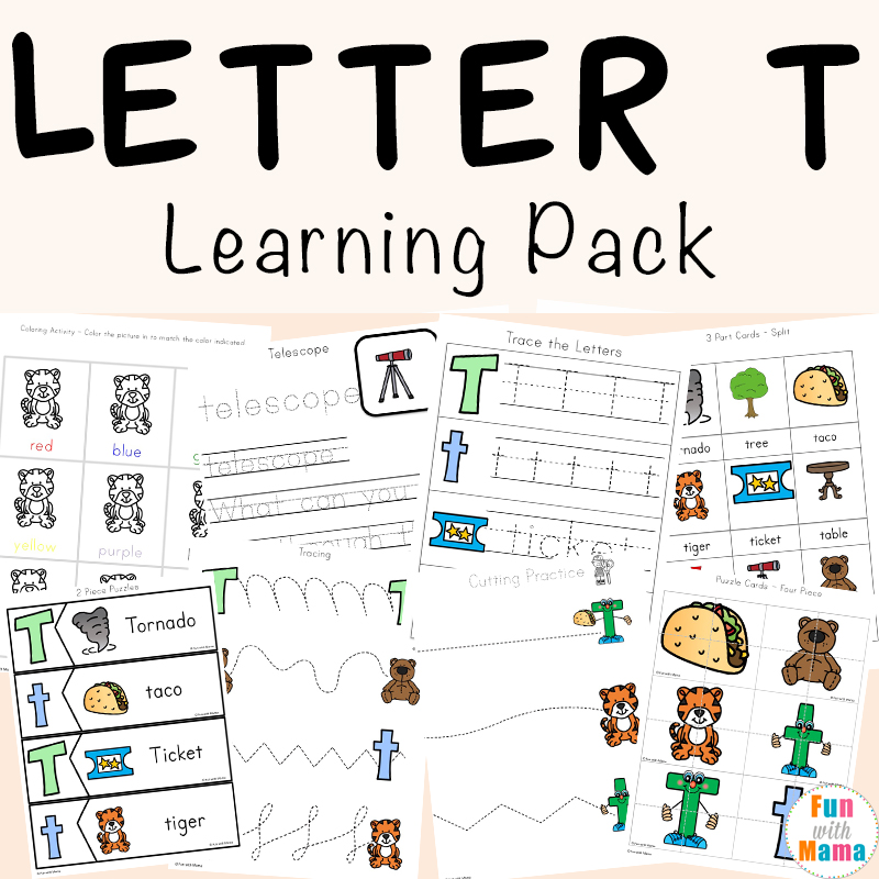 Letter T Worksheets For Preschool And Kindergarten Fun