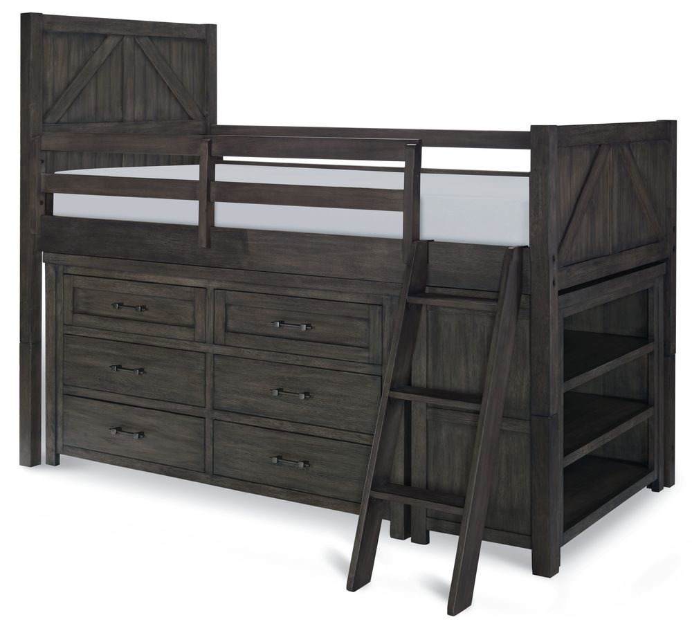 twin mid loft bed with dresser and