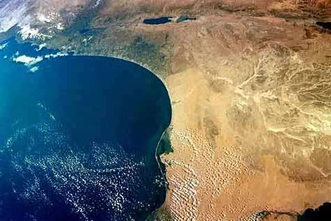 The Mediterranean as seen from Columbia in January 2003, where Egypt and the Israeli coast appear.  Credit Nasa