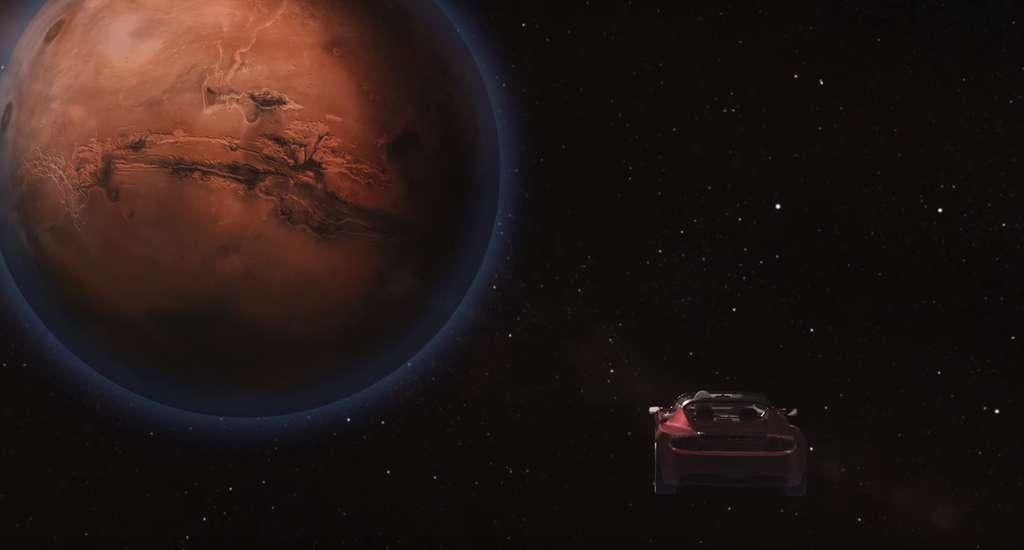 Ilustração do roadster Tesla lançado pelo poderoso Falcon Heavy e a caminho de Marte