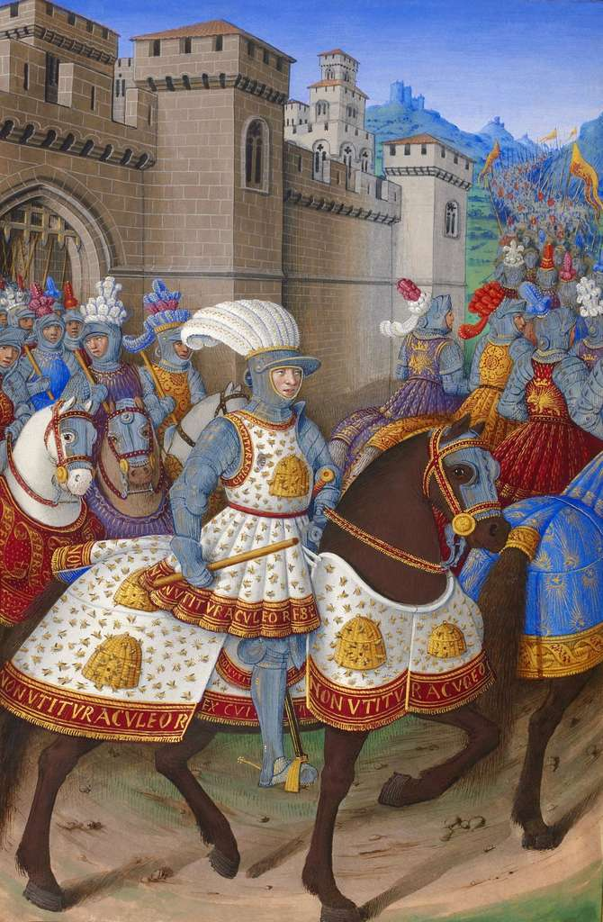 King Louis XII of France in armor, Italian campaign between January and May 1507;  illumination from the Voyage de Genoa by Jean Marot.  National Library of France, French manuscripts department 5091, folio 15 verso.  © Wikimedia Commons, public domain