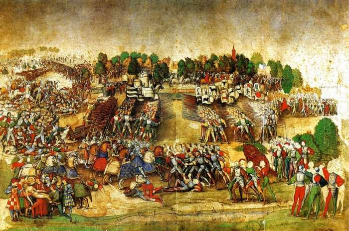 Battle of Marignan by the Master of the Ratière, 16th century.  The Swiss soldiers are on the right, the coats of arms of the thirteen cantons in the background;  in the foreground in the center, we can see the King of France (fleur-de-lys set on a blue background) on his horse in the middle of the battle.  Condé Museum, Chantilly castle.  © Wikimedia Commons, public domain