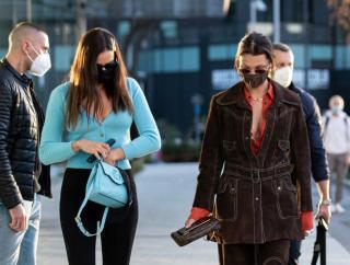 Bella Hadid and Gigi Hadid in Milan