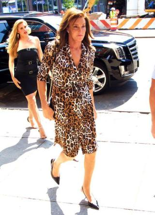 Caitlyn Jenner in a leopard dress and high heels