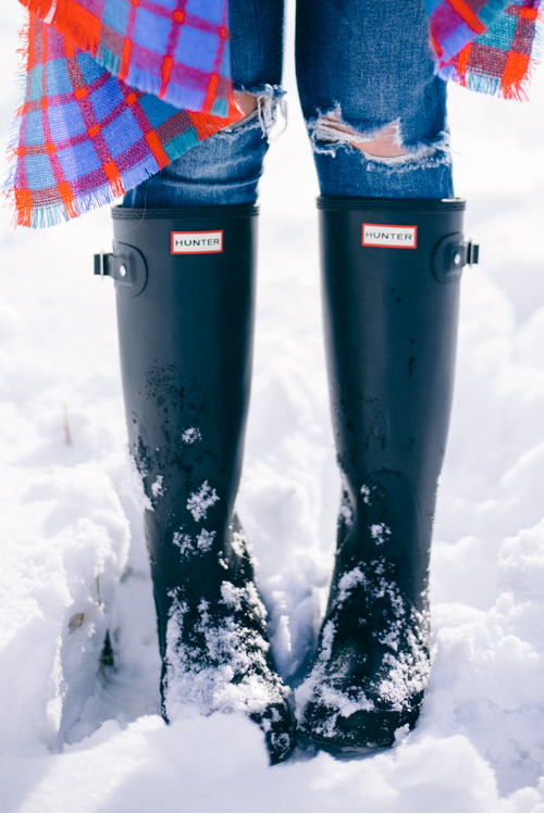 Black Hunter Boots in the Snow