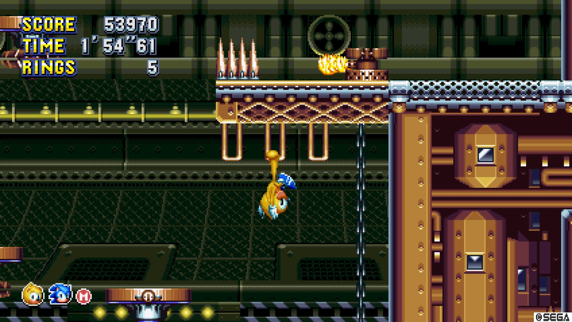 Sonic Mania Plus Presents a Mighty Challenge and a Little Ray of     Ray flips across rails  sometimes hanging upside down