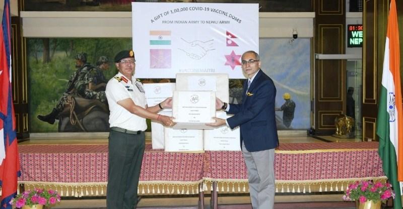 भारतीय सेनाद्वारा नेपाली सेनालाई एक लाख कोभिड–१९ विरुद्धको खोप प्रदान