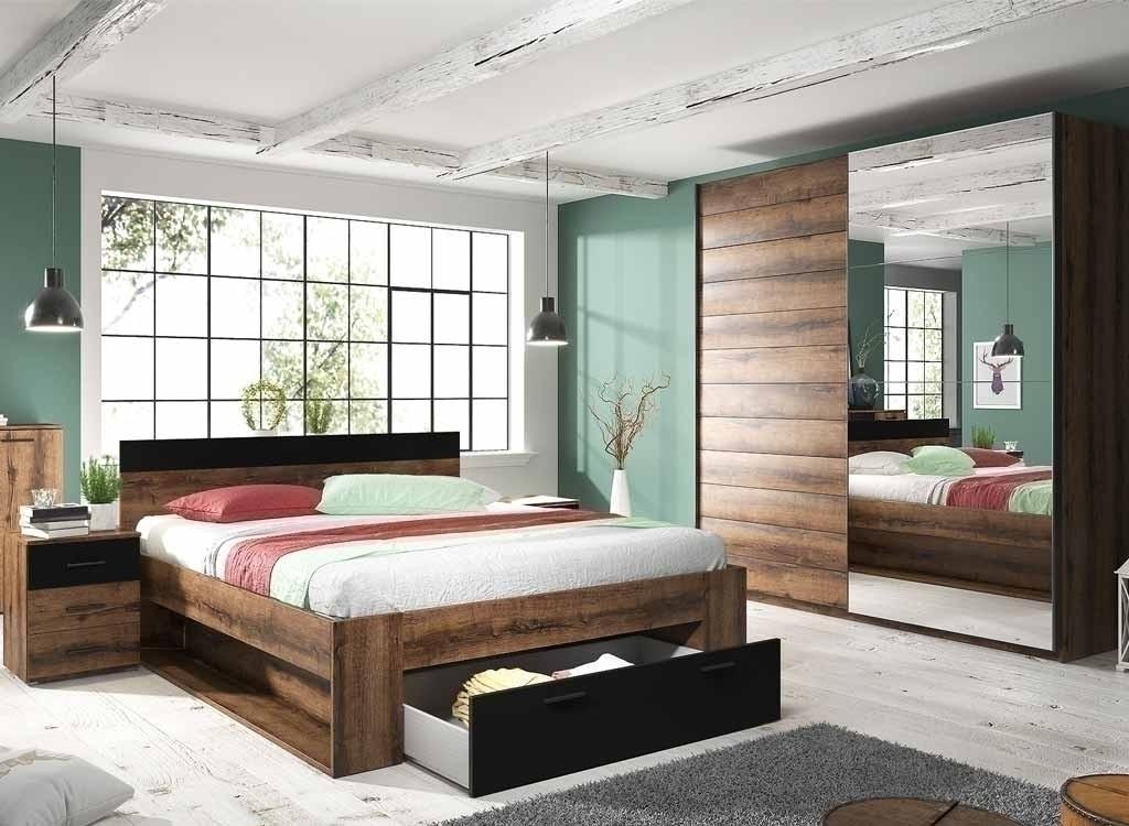 Quale abbinamento colori pareti camera da letto scegli. Camera Completa Lisbona Gihome Rovere Scuro E Nero