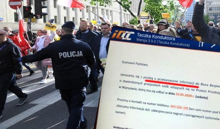 PKP inwigiluje strajkujących przedsiębiorców. Polecenie wydał W.Płoński – skazany za wypadek w którym zginęło dwoje policjantów